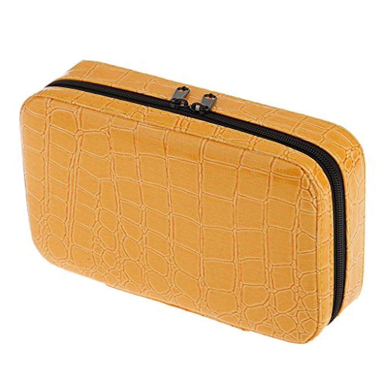再生的資格情報貼り直す収納バッグ ケース エッセンシャルオイル 精油 大容量 精油収納 携帯用 アロマケース PUレザー 全5色 - イエロー