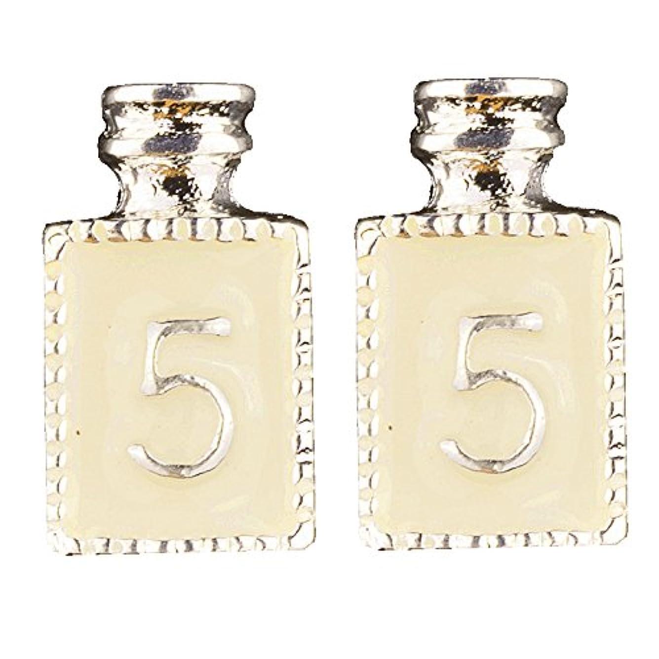 転送キャスト名門[AQUA NAIL] ネイルジュエリー コロン 香水 パーツ 2個入り (6.silver(白2個入り))