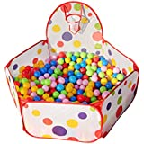 Collapsible Children Toddlers Ball Pit Play Tent Sea Ball Pool Toy with Basketball Hoop Kakiyi