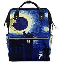ママバッグ マザーズバッグ リュックサック ハンドバッグ 旅行用 夜 星空柄 油絵 ファション