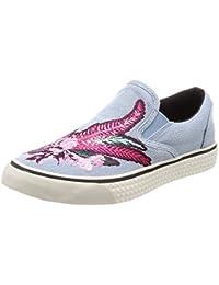 (ディーゼル) DIESEL レディース 刺繍デザイン デニム スリッポン スニーカー LAIKA S-LAIKA SLIP ON W - sneakers Y00970P1642