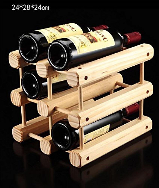 ワインホルダー ワインラック木製ワインラッククリエイティブワインラックワインラックシックスワインラックソリッドウッド6本ラックワインホルダー ワインラック