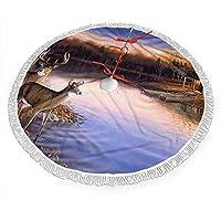 クリスマスツリースカート 自然 河岸 鹿 タッセル クリスマスパーティー用 クリスマス飾り オーナメント インテリア 円形 可愛い 3種類のサイズ