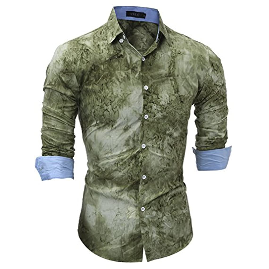句緊張かりてHonghu メンズ シャツ 長袖 3Dプリント カジュアル スリム グリーン M 1PC