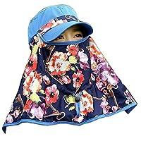 女性 顔UV プロテクション ハット 屋外 夏日 フラップ キャップ ネックカバー フリーサイズ (ブルー・花柄)