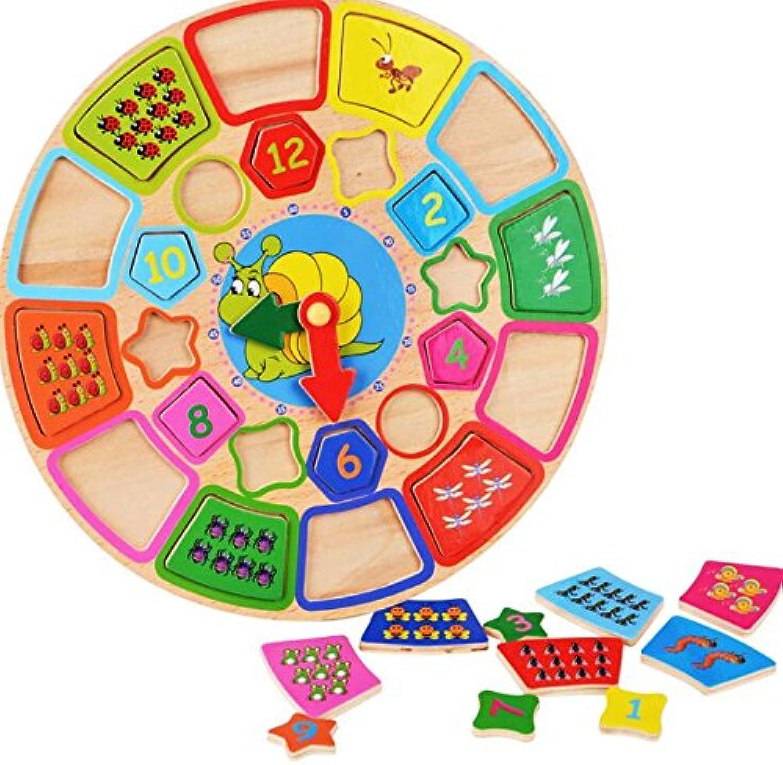 HuaQingPiJu-JP 漫画教育木製時計玩具初期学習時間の数の形の色の動物の認知のおもちゃ(カタツムリ)