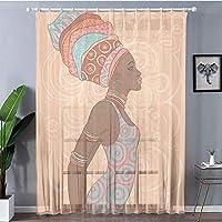 レースカーテン 子供の部屋、寝室居間 2枚100x198cm アフロ装飾、民族衣装サバンナの民族部族の女性トレンドボヘミアンカルチャーアートイメージ、マルチ