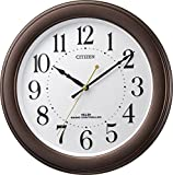 シチズン 電波 掛け時計 アナログ 連続秒針 見やすい 凸文字 茶 CITIZEN 8MY509-006