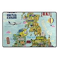 SoreSore(ソレソレ)ラグ カーペットラグマット夏 洗える 滑り止め ラグマット長方形 おしゃれ かわいい 北欧 英国 地図 おもしろ かわいい UK マット カーペット すべり止め 53*80cm 152*99cm 2サイズ