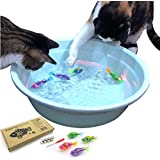 BlackHole Litter Mat Interactive Swimming Robot Fish Toy for Cat/Dog with LED Light (4 pcs), Cat & Dog Toy to Stimulate Your