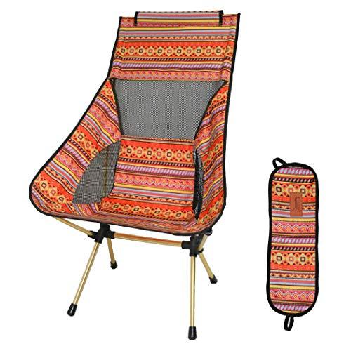 DesertFox アウトドアチェア 折りたたみ 超軽量【ハイバック】【耐荷重150kg】コンパクト イス 椅子 収納袋付属 お釣り 登山 携帯便利 キャンプ椅子0018 (オレンジ/ハイバック)
