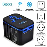 Universal Travel Plug Adapter by Ceptics - Powerful 33W with PD & QC 3.0 USB-C Fast Charging - 2 USB Ports Wall Charger Type I C G A Outlets 110V 220V A/C - EU Euro US UK
