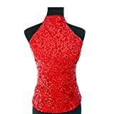 スパンコール ダンス衣装 トップス アメスリ ハイネック ノースリーブ ゴールド・シルバー・レッド ブルー ブラック フリーサイズ (レッド)