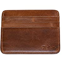 Hibate Men's Leather Credit Card Holder Wallet Case Mens Front Pocket Sleeve