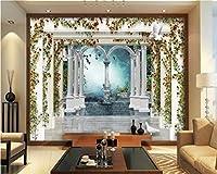 Wuyyii 大写真の壁紙ヨーロッパスタイルの3Dローマの列庭のバラのテレビの3Dリビングルームの背景の壁紙3 D-120X100Cm