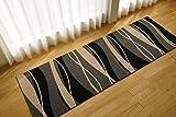 ソフトタッチが気持ちいい! 廊下敷き マット ラグジュアリースタイル ( ウェーブ 80x150 cm ブラック ) ウィルトン織