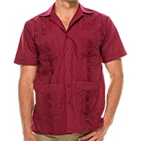 Volcan Men's Short Sleeve Cuban Guayabera Shirts