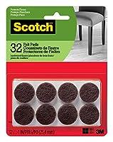 Scotch フェルトパッド 丸形 ブラウン 直径 1 インチ 1 パック 16 パッド入り (SP821-NA) 32 Pads ブラウン SP822-NA 1