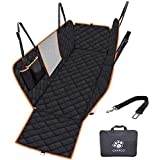 "Upgraded Dog Seat Cover for Cars Trucks SUVs Waterproof Dog Travel Hammock Car Back Seat Cover with Mesh Window/Side Flaps/Dog Seat Belt Anti-Scratch Rearseat Cover, 54""W x 58"" L"