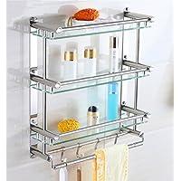 バスルームタオルラックバスルーム棚ステンレス鋼のガラスの格子のハードウェアバスルームのペンダント壁掛け/バスルーム (サイズ さいず : 58 * 54cm)