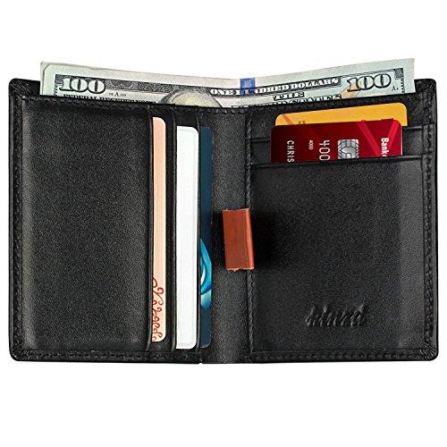 Kinzd® 超薄型財布 本革小さいウォレット カードとお札収納 二つ折り財布 メンズ (ブラック)