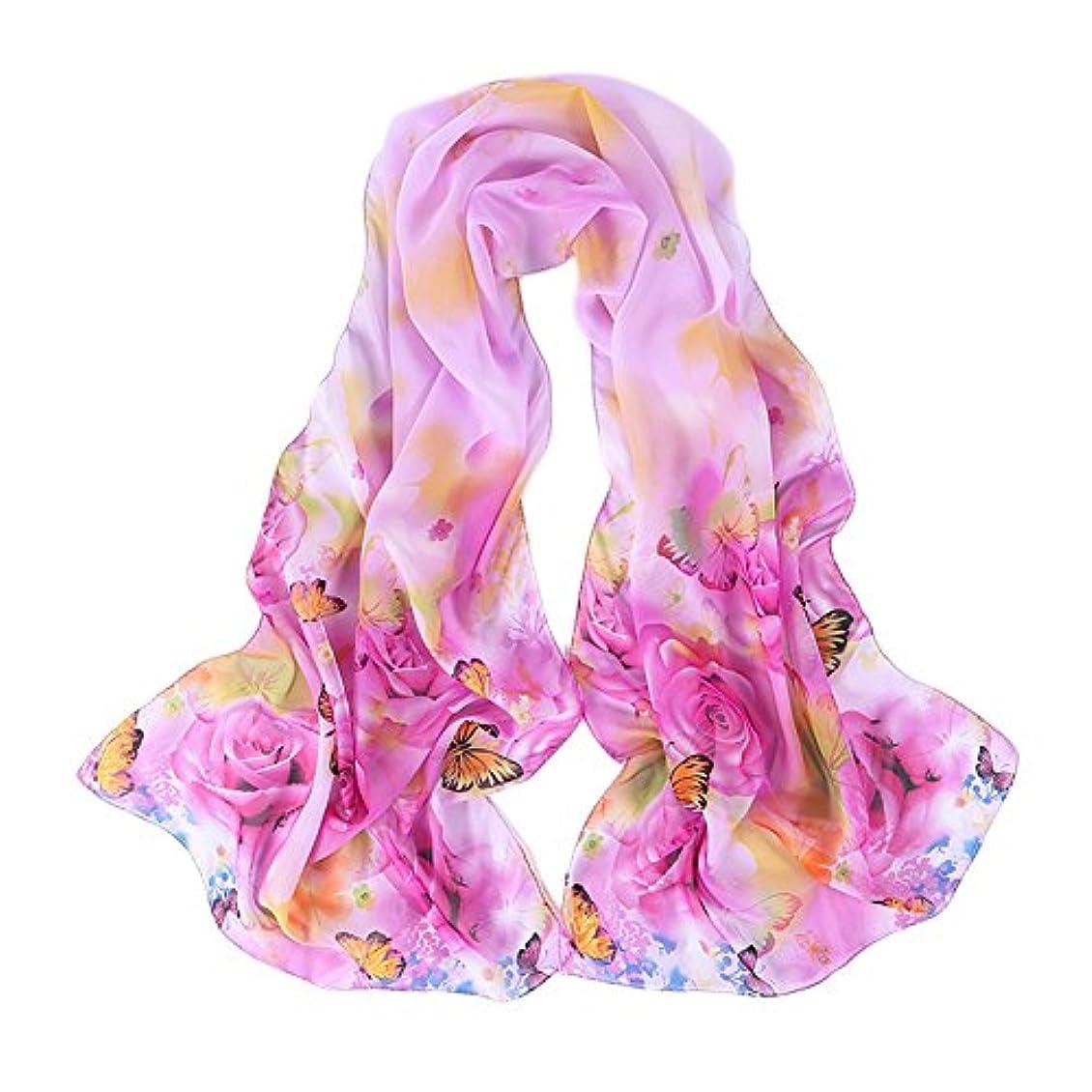 日記団結するアスペクト薄手蝶々柄シフォンロングスカーフ 4色