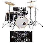 【消音ラバーパッド付】Pearl パール EXX725S/C No.31/ジェットブラック EXX Covering シンバル付ドラムフルセット