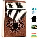 Kalimba Thumb Piano 17 Keys with Study Instruction and Tune Hammer,Portable Mbira Sanza Finger Piano, Gift for Kids Adult Beg
