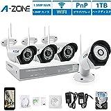 A-ZONE 4CH 100万画素タイプ(1000GB内蔵) ワイヤレス防犯カメラ CCTVセキュリティカメラシステム 80フィートIR LED赤外線ナイトビジョン、IP67 屋内/屋外 監視カメラ 無料アプリ 遠隔監視 対応 防犯カメラキット (1TBHDD)