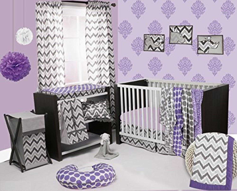 Bacati Ikat Chevron Muslin 10 Piece Crib Set with 2 Sheets Purple/Grey [並行輸入品]