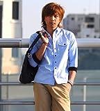 メンズ 七分袖 袖リブ 無地 ストライプ カジュアルシャツ 白シャツ 【q952】 スペード画像⑩