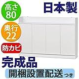日本製 完成品 ロータイプ 薄型 カウンター下収納 奥行22 高さ80cm (120幅 扉タイプ)