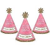 ピンクきらきら星 – Mini円錐ベビーシャワーまたは誕生日パーティー帽子 – スモールLittle Party Hats – 10のセット