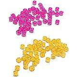 chiwanji 約100枚 6面ダイス 賽子 骰子 ボードゲーム用品 全2タイプ - ローズレッド+オレンジ