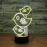 WZYMNYD 3d ledビジュアル7色ナイトライトusb子供ベッドサイド睡眠玩具3小さな鳥モデリング装飾ギフトクリエイティブ動物デスクランプ