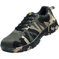 yotijar Camouflage Pattern Steel Toe Safety Work Shoes Anti-Smashing Heavy Duty