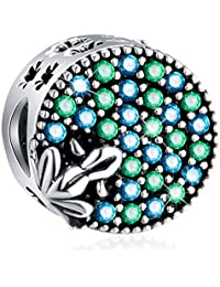 EMOSTAR Cute 3D A Little Frog Charms on The Blue Green Pond, Antique 925 Sterling Silver Four Leaf Clover and Frog Animal Beads with CZ, Lucky Gifts for Pandora Women Bracelet