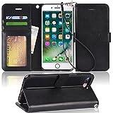 iPhone8 Plus ケース/iPhone7 Plus ケース 手帳型 スタンド機能 Arae ストラップ付き カードポケット 財布型 スマホケース 耐衝撃 おしゃれ おすすめ アイフォン8 プラス/アイフォン7 プラス 用 ケース カバー(ブラック)