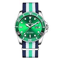 ZHANGZZ 美しい時計 ウォーターゴーストメンズ腕時計ナイロンベルト防水発光カレンダー時計スポーツウォッチwatch085 (Color : 1)