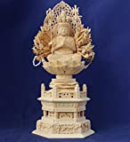木彫仏像/千手観音菩薩座像身丈2.0寸草光背六角台桧木