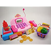 Pretend Play Cash Register with Accessories, Sound, Light, Scanner, and Microphone for Kids (Color May Vary) by Fatherland Shop