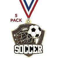 "21/ 4"" Shieldz Soccer Medals–5パック"