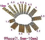 99pcs 1.5-10mm HSS鋼 チタンコーティング 鉄工用ドリル刃セット 六角軸 鉄工用ドリルセット ステンレス用 高速度鋼
