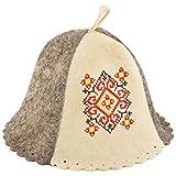 Eden Ukraine Wool Sauna Hat Embroidered Ukrainian Ornament Red