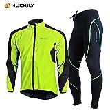 (サイズ:L) サイクルウェア 長袖 高品質 上下セット 秋冬用 春用