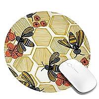 マウスパッド丸型 柔軟 ゴム製裏面 ゲーミングマウスパッド PC ノートパソコン オフィス用 円形 デスクマット 滑り止 ハニカム蜂