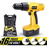 MasterSkil 18V Cordless Drill Driver Screwdriver Accessories W/Battery Charger (One Battery)
