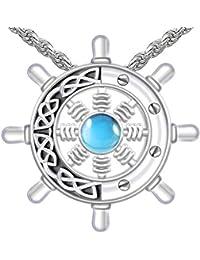 メンズ 1 3/8インチ 0.925 スターリングシルバー アイリッシュ ケルトの船 ホイール 人工ブルートパーズ ペンダントネックレス