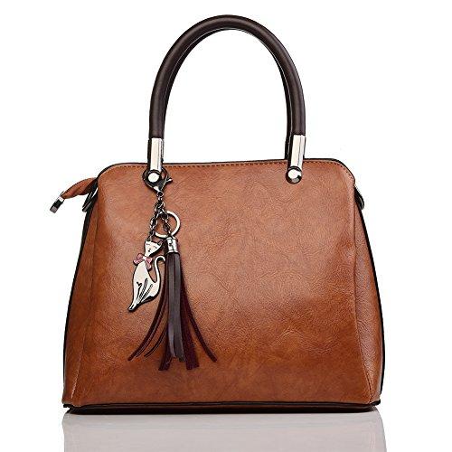 レディースハンドバッグ 2wayカバー ショルダーバッグ PUレザー 通勤 通学 軽量 手提げバッグ ビジネスバッグ (ブラウン)