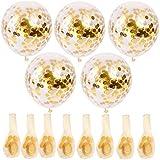 RETYLY 金色、紙吹雪風船30個、12インチのパーティー風船とゴールデンのペーパー紙吹雪ドット、パーティーの装飾また結婚式の装飾、プロポーズ用